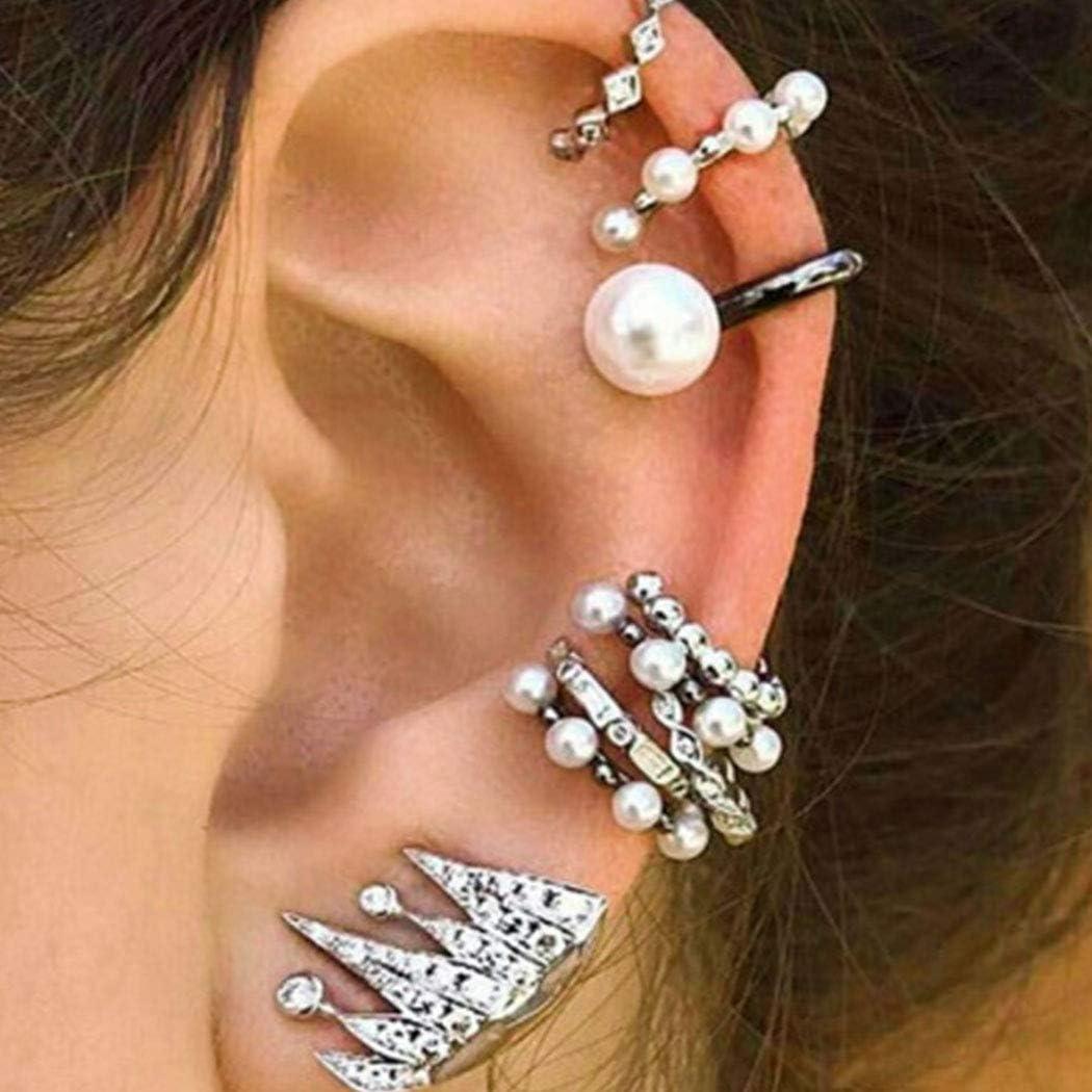 Fashband Juego de pendientes de perlas bohemias para cartílago, sin perforación, con diamantes de imitación irregulares, accesorios de joyería punk, regalo para mujeres y hombres, paquete de 9