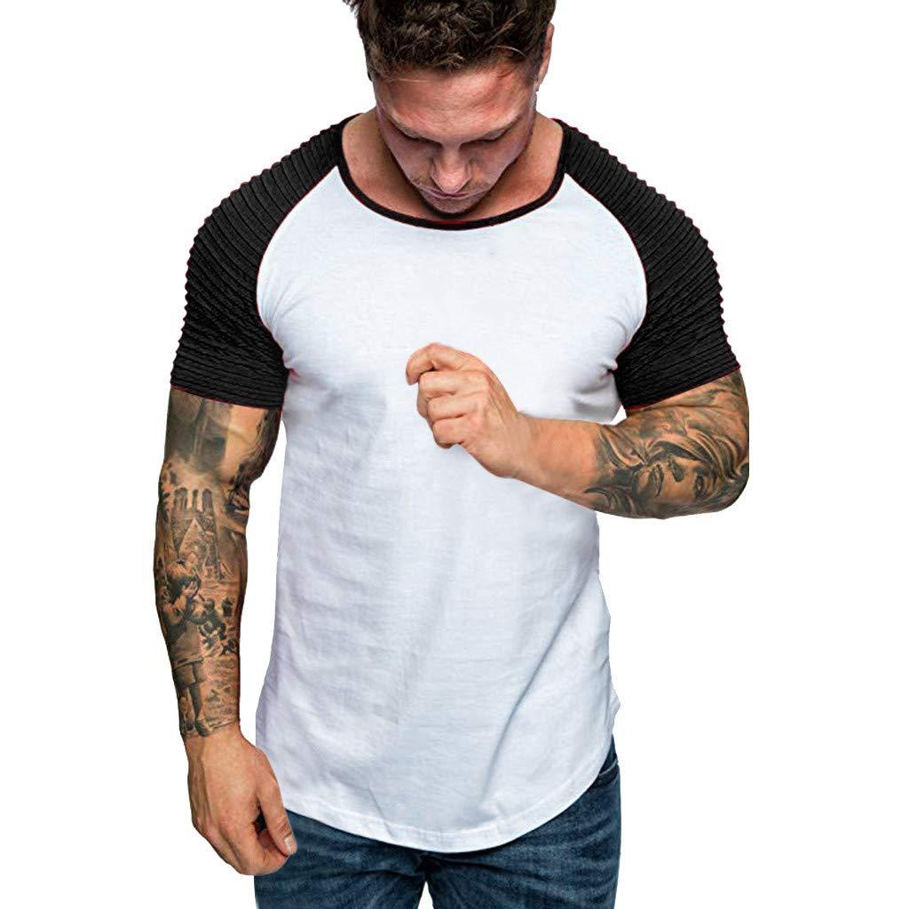 Hosamtel Men Short Sleeve Raglan T-Shirt Patchwork Pleats Fashion Casual Summer Slim Fit Workout Sport Tee Blouse Tops White