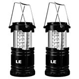 LE 2 Pack Portable LED Lantern Outdoor Collapsible 30 LEDs Battery Powered Water Resistant Camping Gear Equipment Flashlight Lanterns