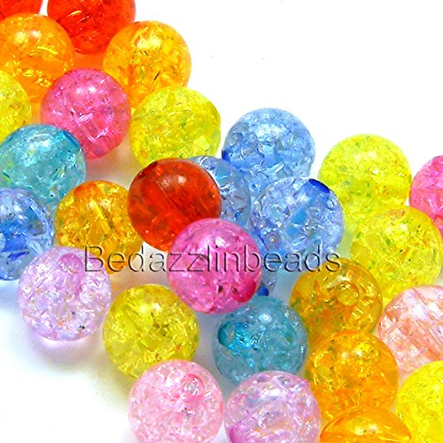 100 Assorted Color 8mm Round Crackle Plastic Acrylic Loose Beads with Internal Cracks