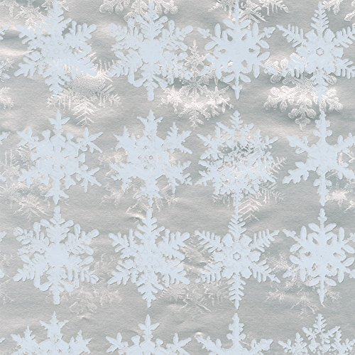 Entertaining with Caspari 94322RC Snowfall Foil Continuous Gift Wrap Roll, 8', Silver by Entertaining with Caspari (Image #1)