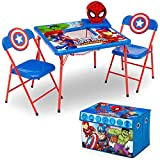 old avengers - Delta Children 4-Piece Kids Furniture Set (Storage Table with 2 Chairs & Fabric Toy Box), Marvel Avengers