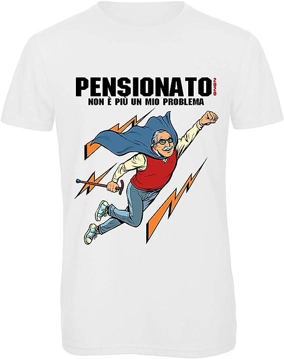 T-SHIRT Pensionato dal 2020 Maglietta Humor Simpatica Ironica Regalo Pensione