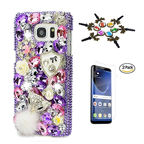 Samsung Galaxy S8 Case, STENES 3D Handmade Luxurious Crystal Sparkle Diamond Rhinestone Hybrid Cover Case with Screen Protector & Retro Anti Dust Plug - Shield Pearl Pendant Fox Flowers / (Purple Shield Protector Case)