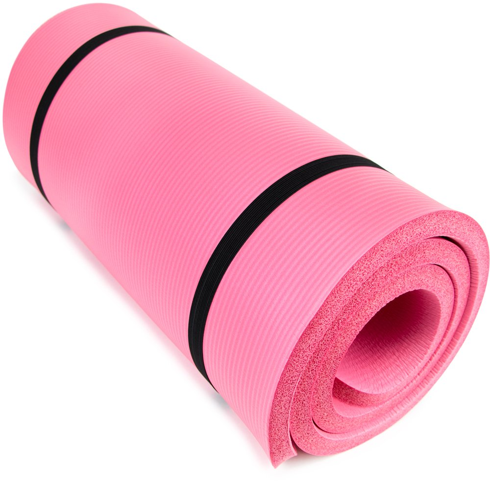thick exercise and yoga mat in pink color