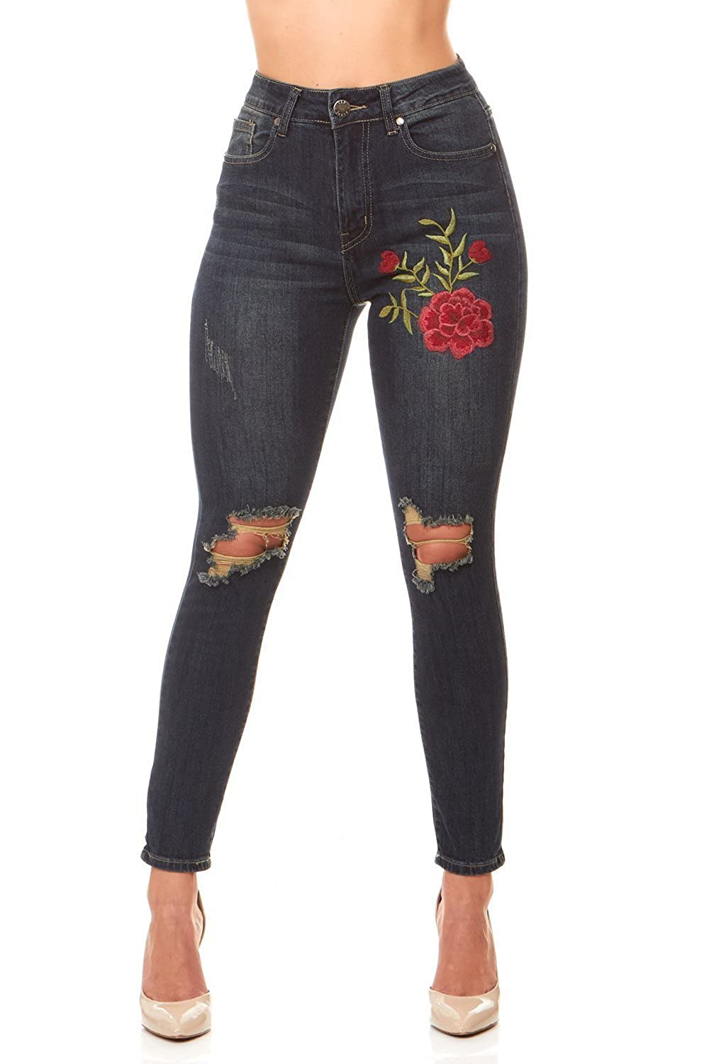 95484573b6b7d V.I.P. JEANS High Waist Ripped and Distressed Soft Stretch Skinny Jeans For  Women In Junior and Plus Sizes