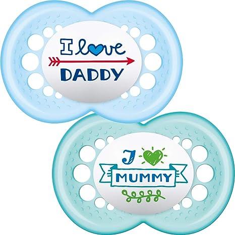 MAM - Conjunto de 2 chupetes escrito: Te amo mamá / papá, con ...