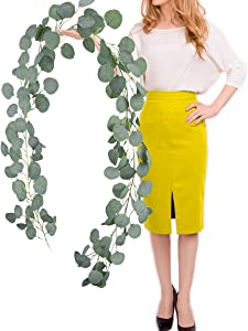 BOMAROLAN Artificial Eucalyptus Leaves Garland Faux Silk Vines Greenery Wreath 6 1/2 feet Wedding Backdrop Arch Wall Décor Home Party