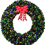 6 Foot Multi-Color L.E.D. Christmas Wreath with Pre-lit Red Bow - 72 inch - 600 LED Lights - Indoor - Outdoor