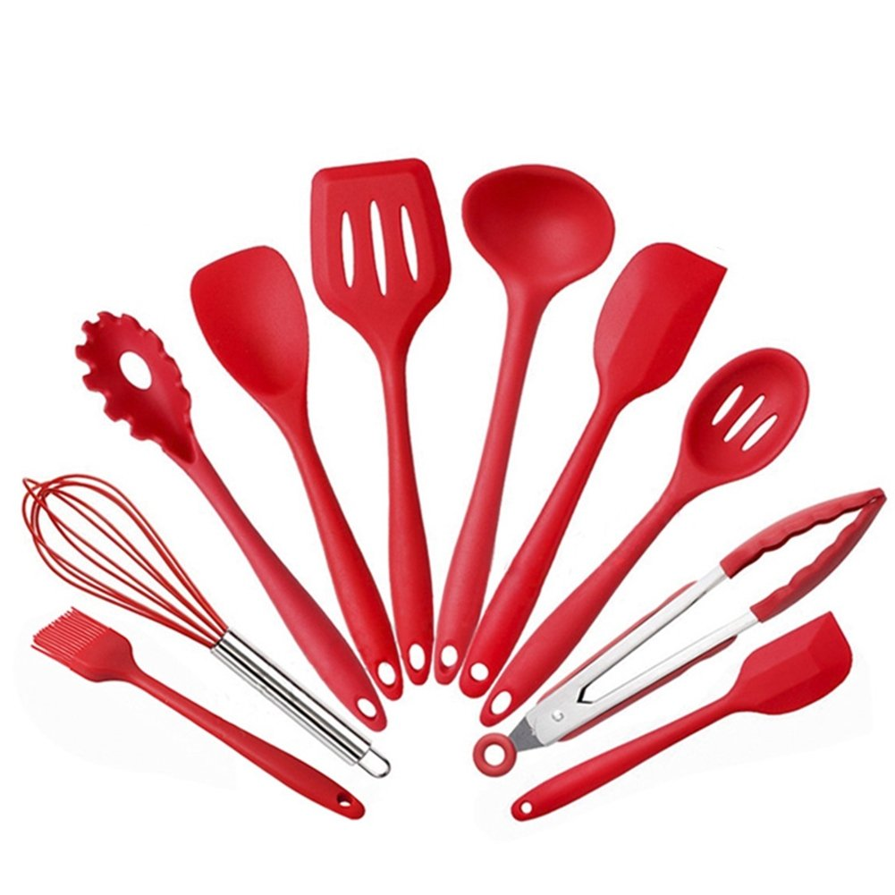 Silicone Kitchen Cooking Utensils Set, 10 Piece Cooking & Baking Utensils Set Kitchen Tools and Gadgets, Heat-Resistant Non-Stick Silicone Kitchen Utensils Cooking Tools for Home Use (Red)