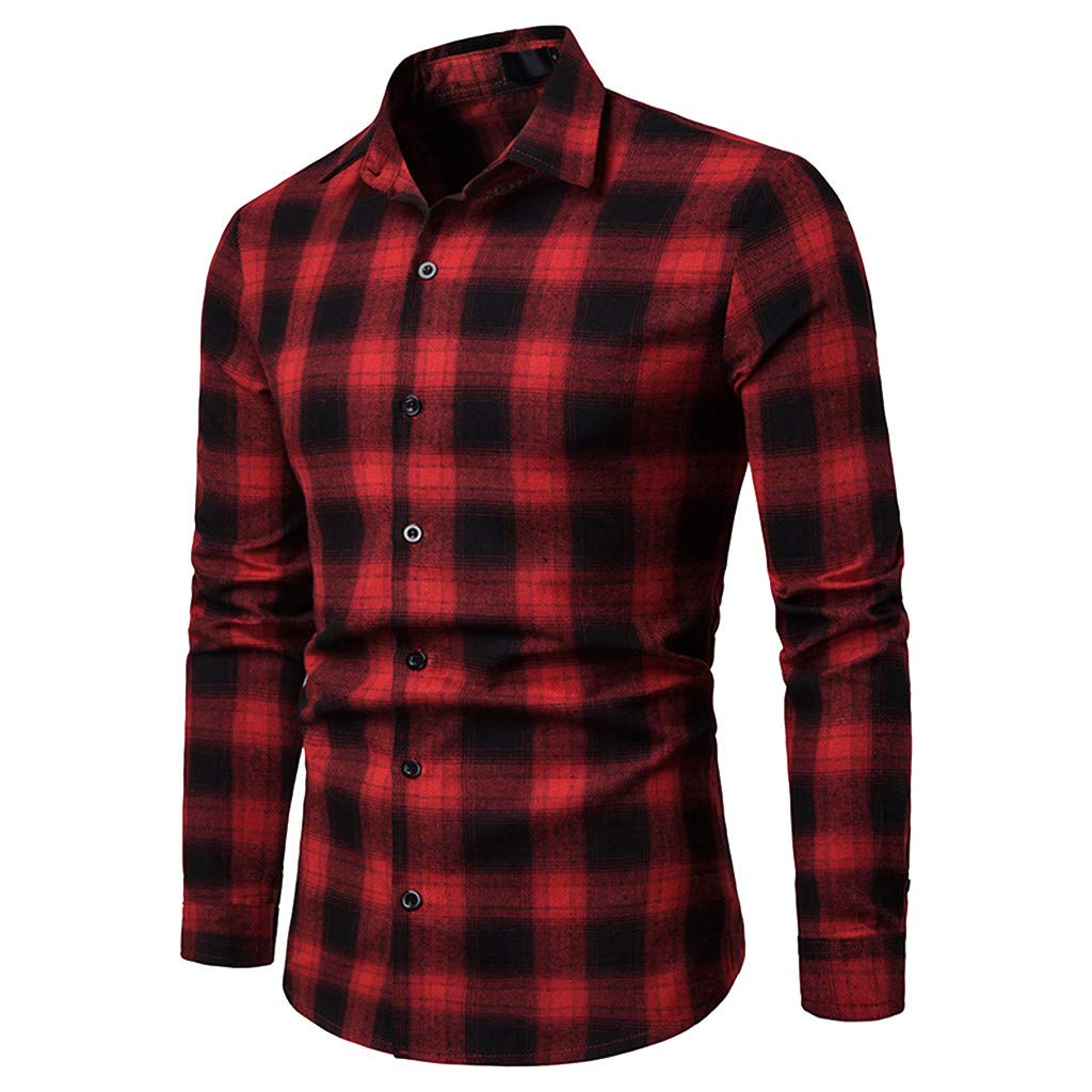 Balakie Lattice Long Sleeve Casual Blouse Tops Mens Spring Button Down Shirt