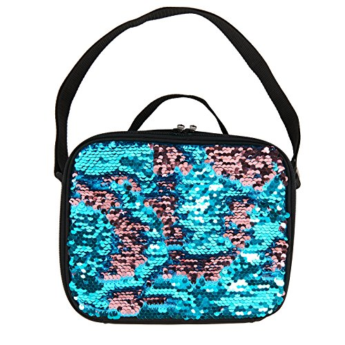 Backpack Nap Sack (Teal and Pink Sequin School Supplies Childrens Canvas Lunch Tote Bag)
