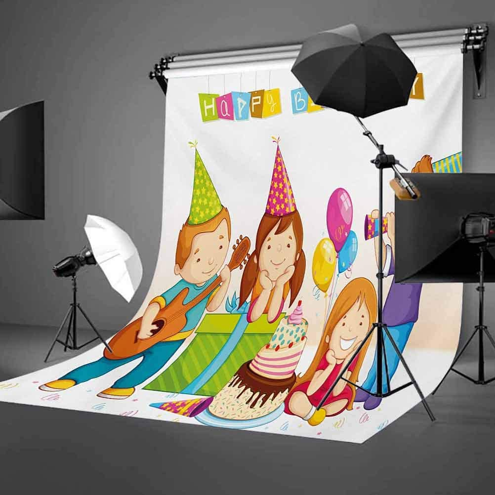 10x12 FT Photo Backdrops,Colorful Kindergarten Party Cone Hats Cake Boxes Music Celebration Print Background for Kid Baby Boy Girl Artistic Portrait Photo Shoot Studio Props Video Drape Vinyl