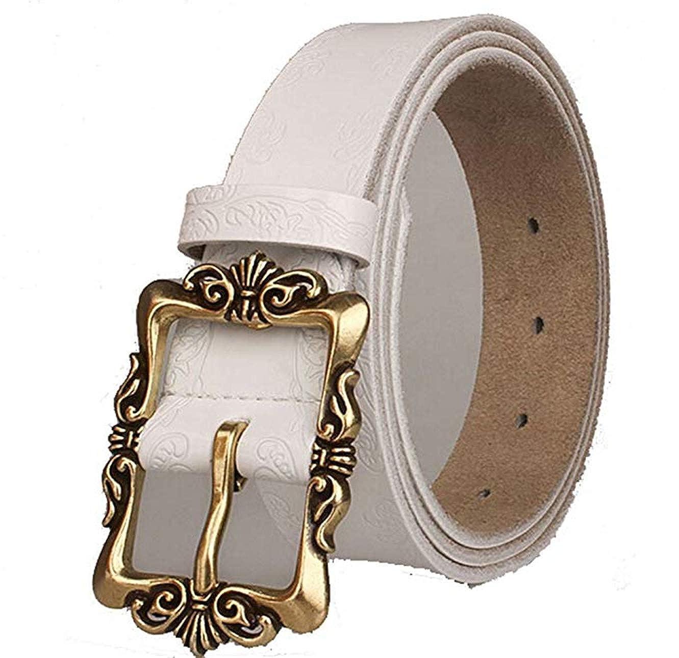 Retro Leather Embossing Waist Belt Womens Genuine Lether Belt