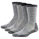 Wool Socks Men, RTZAT Men's Women's Performance Moisture Wicking Socks Fit Outdoor Sports Mountain Cimbing Trekking 4 Pairs Large, 2 Gray, 2 Brown