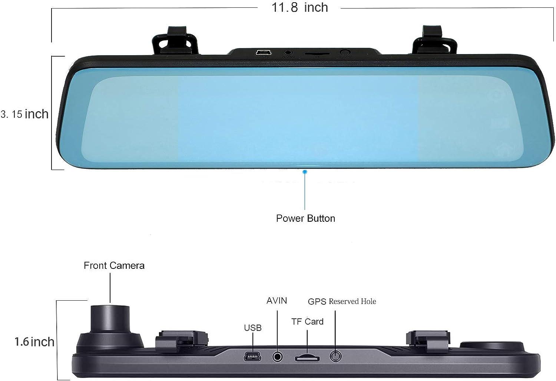 170/° Wide Angle 1080P Front and 150/° 720P Waterproof Rear View Camera Night Vision FLYAN Mirror Dash Cam Backup Camera 7 Inch HD Touch Screen Car Dash Camera Front Rear Dual Lens Parking Monitor