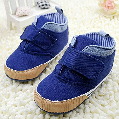 Weixinbuy Baby Boy's Canvas Soft Sole Velcro Sneaker High Shoe Deep Blue S