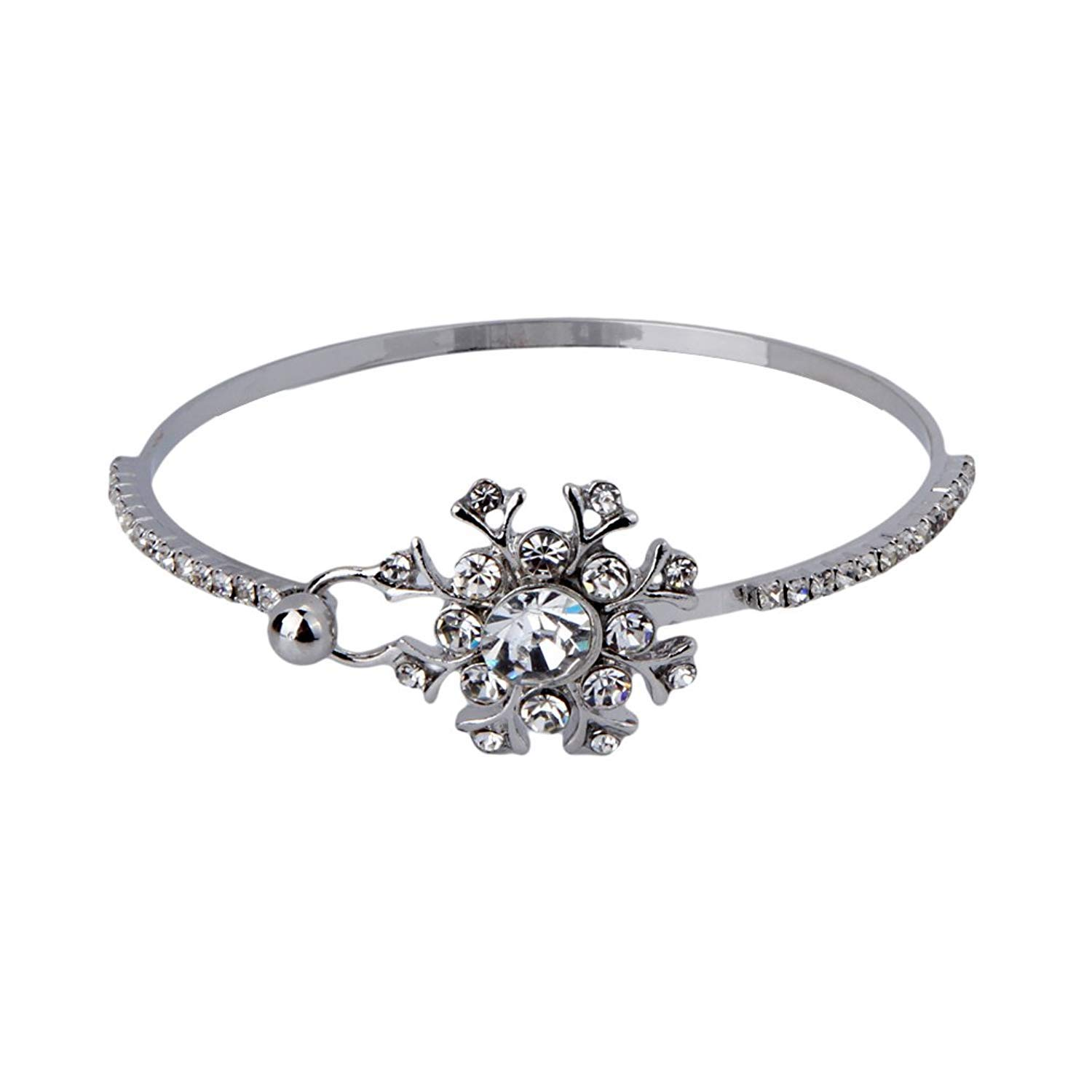 DVANIS Women's Jewelry Silver Plated Snowflake Crystal Bangle Bracelet Inside Diameter 6.1cm