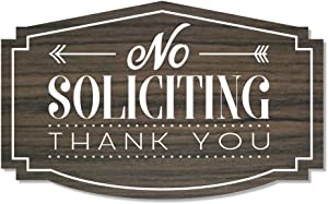 No Soliciting Thank You Sign for Home or Business | Laser Engraved on Stylish Material (Small, Kona/White)