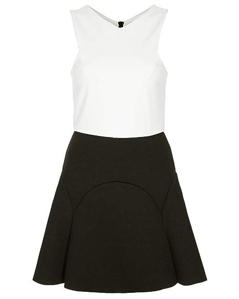 Ex Topshop Topshop Black White Scuba Skater Dress Black/White 6