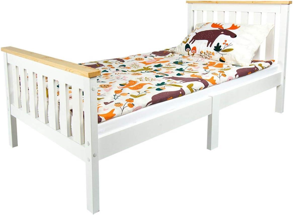 Leomark Junior Cama Infantil de Madera - Milano Pine - con Colchón Espuma, para niños, Color Blanco, Espacio para Dormir: 140/70 cm