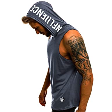 77f5ba52 Amazon.com: Men's Workout Hooded Tank Tops Sleeveless Letter Printed Gym  Hoodies Bodybuilding Muscle Cut Off T Shirt: Clothing