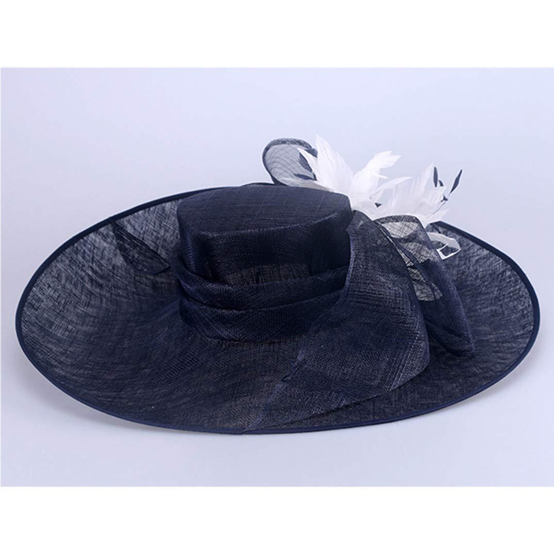YALOEE Pillbox Hats for Women Fedora Elegant Linen Wedding Fascinator Hat Formal Party Caps Blue by YALOEE (Image #4)