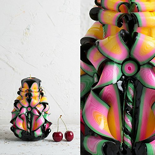 Carved Candle – Premium Decorative Handmade – Black Rainbow Colors – Flower Inspired – EveCandles