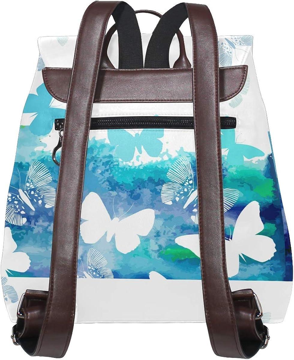 PU Leather Shoulder Bag,Watercolor Blue Butterflies Backpack,Portable Travel School Rucksack,Satchel with Top Handle