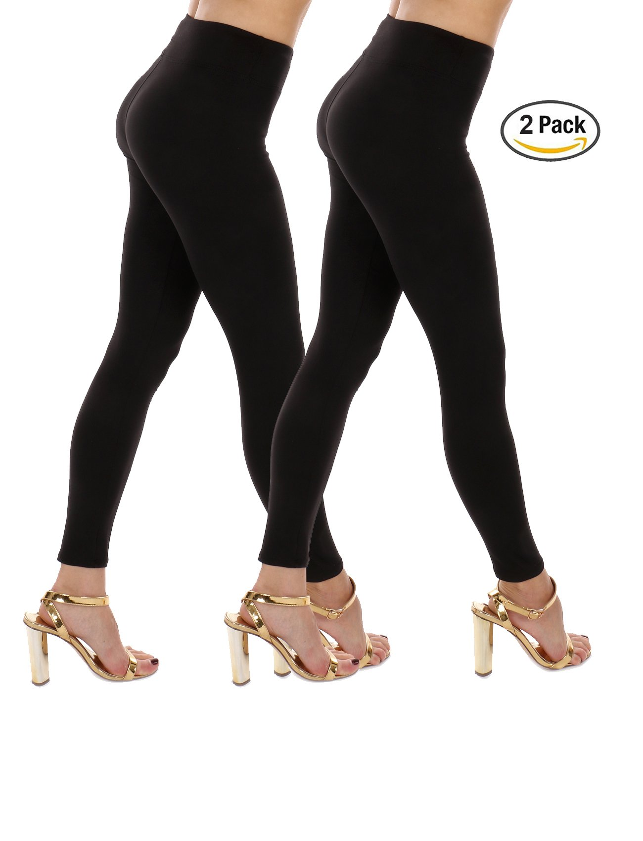 Premium Soft High Waist Yoga Leggings-Ankle Length & Cropped Capri -One Size fits 3 Sizes-Made in The USA (2pk (Black,Black), One Size/ 0-6 (XS,S))