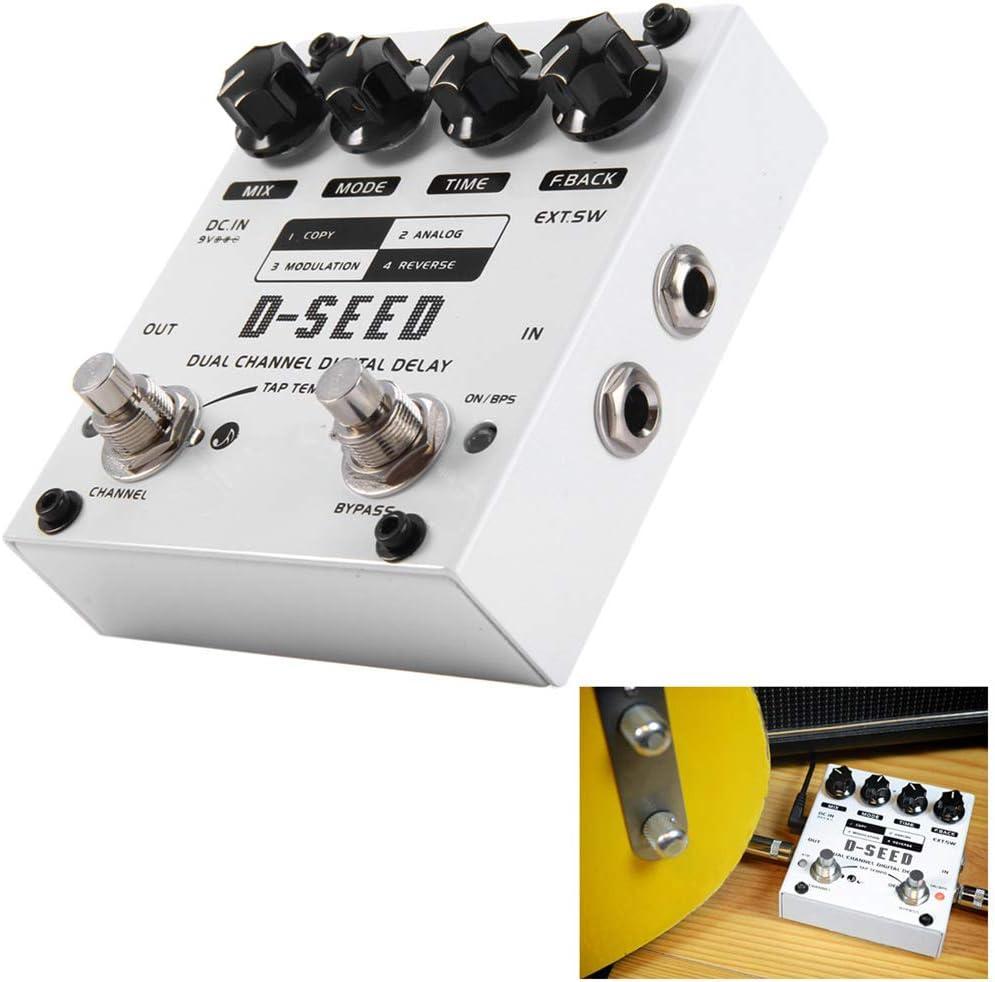 ZXCV Efecto Guitarra eléctrica Pedal Doble retardo de Efectos de Guitarra Pedal de Canales Digitales con Cuatro Modos