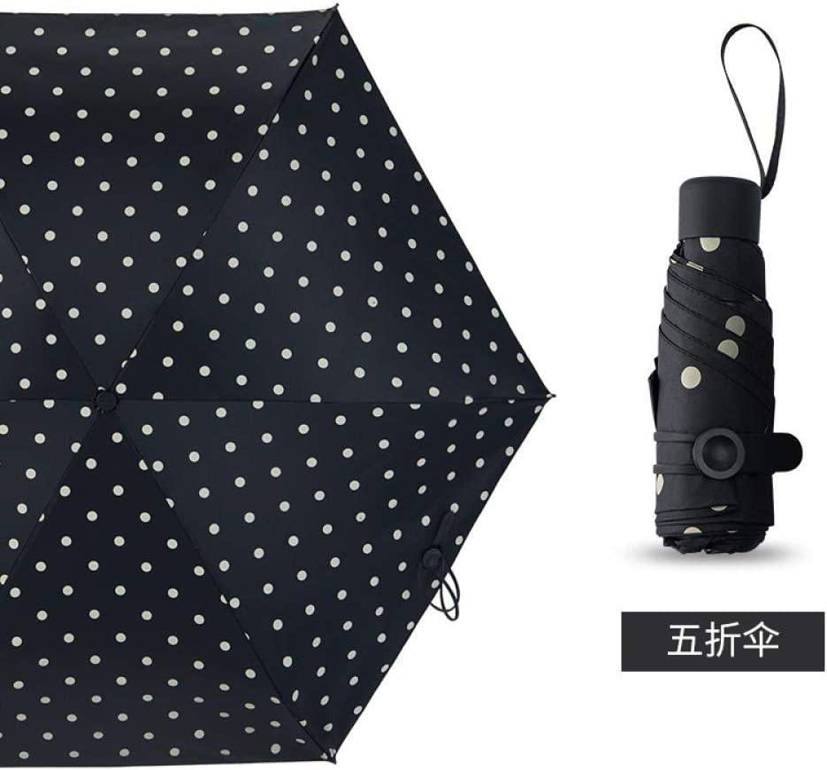 Hepburn Wave Point Black Umberlla Ultralight 50/% Off The Umbrella Dual Use Sun Umbrella Lady Sun Protection Uv Protection Sun Protection Mini Black Plastic Umbrella@50/% Off