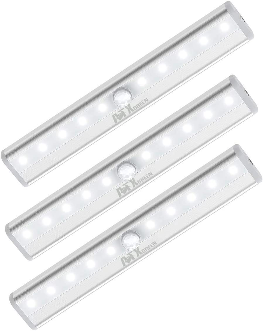 Closet Light, ATXgreen Motion Sensor Night Light (3 Pack)-10 LEDs Homelife Motion Sensor Led Lights Stick-on Anywhere Wireless Magnetic Lights Bar for Stairs Cabinets Closets