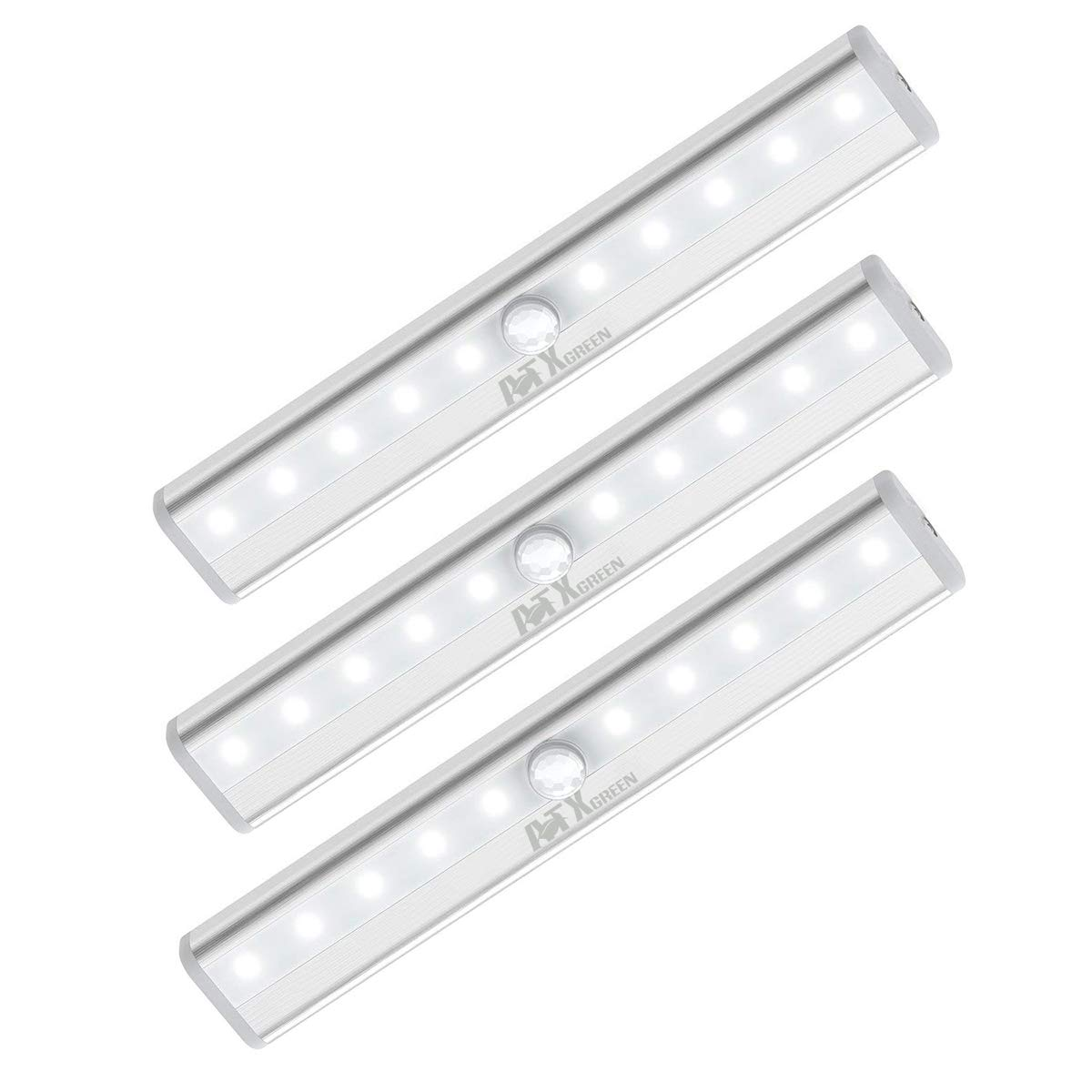 Closet Light, ATXgreen Motion Sensor Night Light 3 Pack -10 LEDs Homelife Motion Sensor Led Lights Stick-on Anywhere Wireless Magnetic Lights Bar for Stairs Cabinets Closets