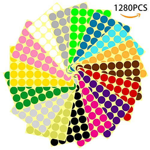 1280PCS 1 Inch Round Dot Stickers Color Coding Labels, 16 Different Colors
