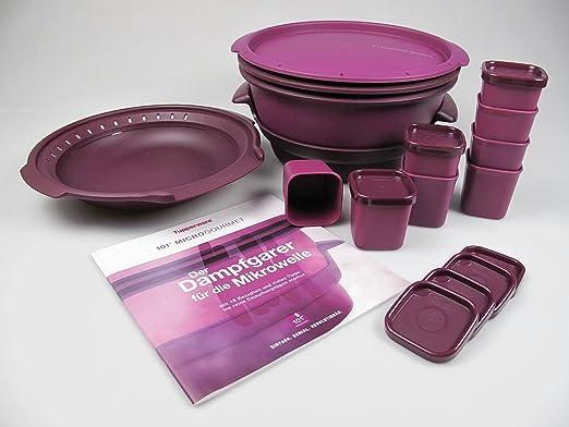 Tupperware 11tgl. Micro de vapor de milagro I101 Gourmet + + Micro de cocción al vapor y moldes de + libro de recetas: Amazon.es: Hogar