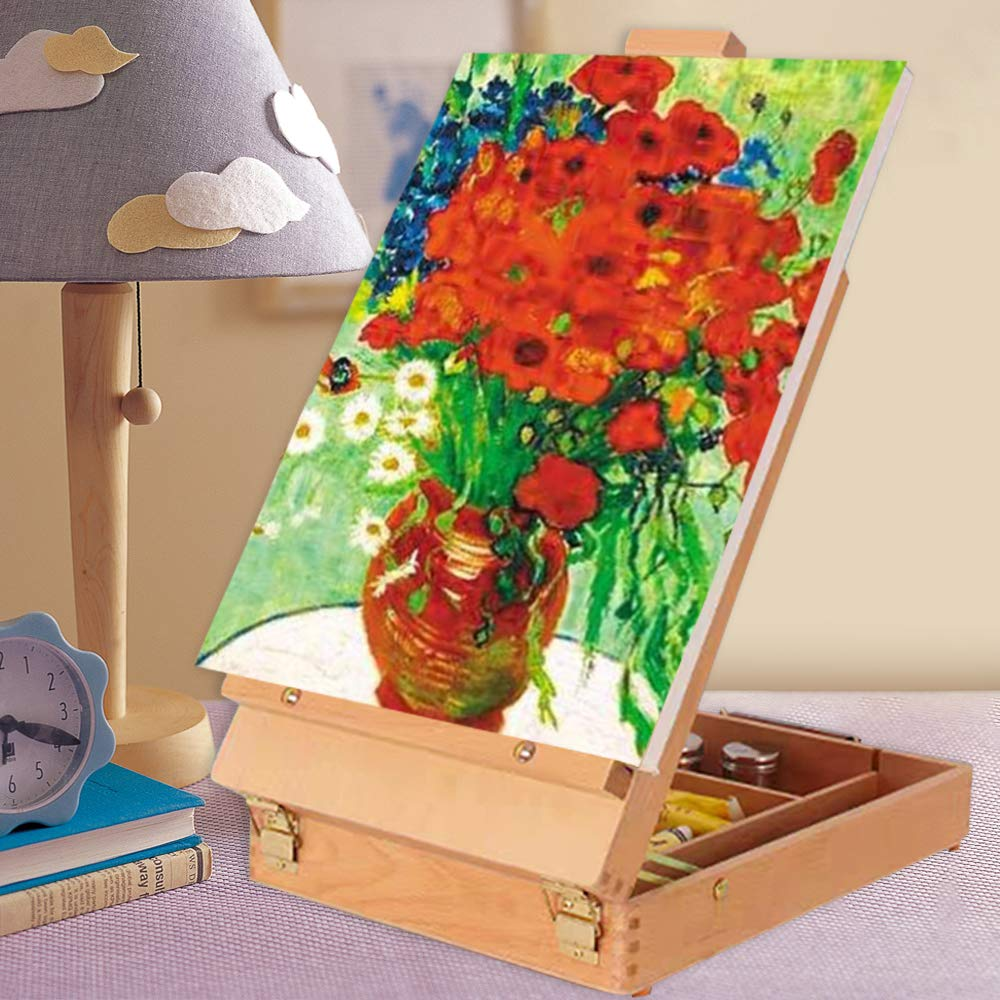 Beginner Artist Premium Wooden Artist Desktop Case for Student Table Top Easel Art Easel Shetchbox Easel Tabletop Easel