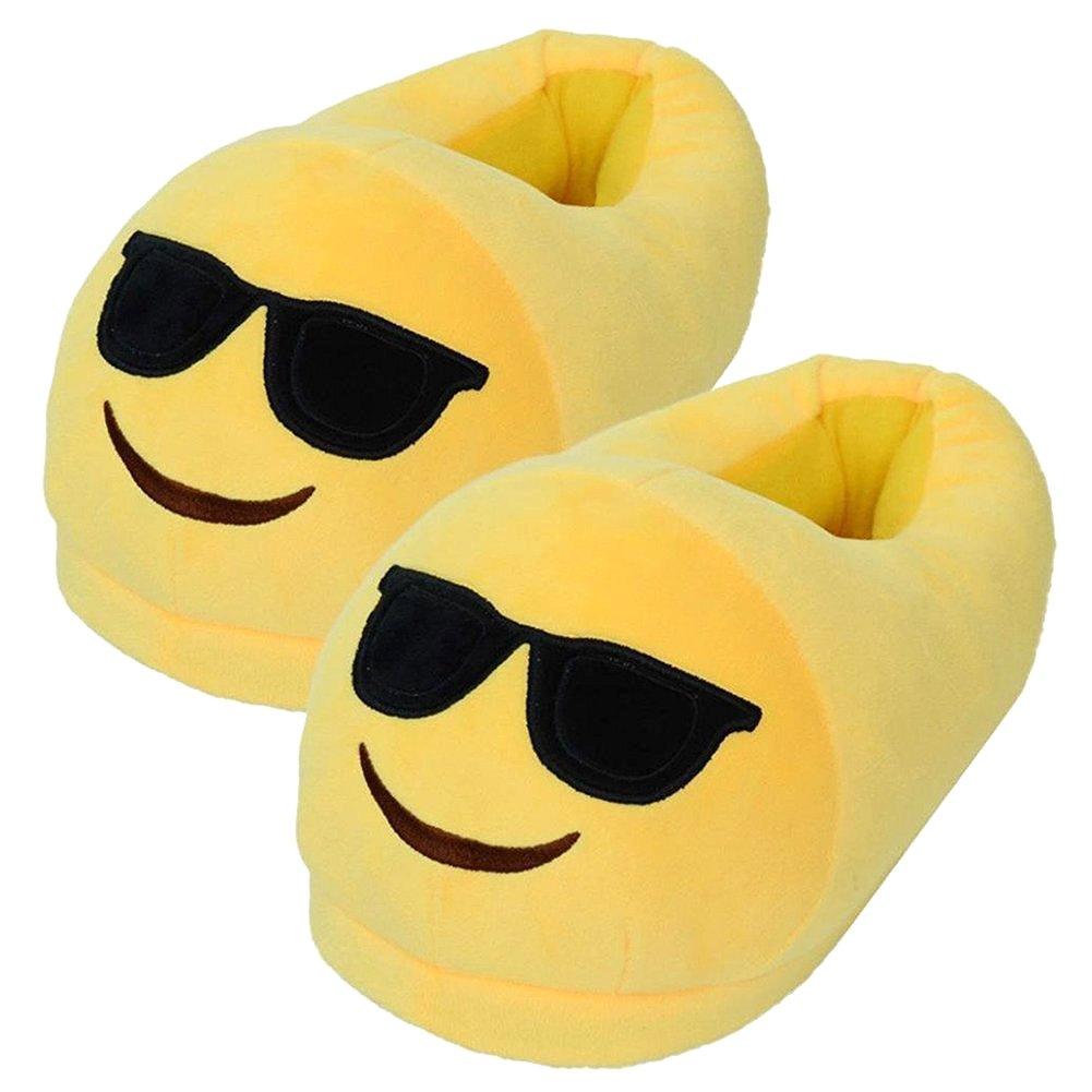 YINGGG Emoji Slippers Plush Fluffy House Shoes (Sunglasses)