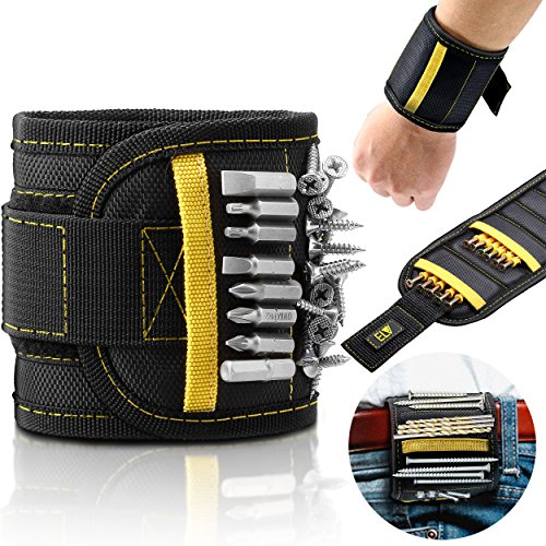ELV Magnetic Wristband, 15 Strong Powerful Magnets Hold Small Metal Tools screws, nuts, drill bits, bolts, nails & 2 Pockets for holding Non Magnetic Tools for Men Dad DIY Handyman Electrician Husband - Non Magnetic Bit