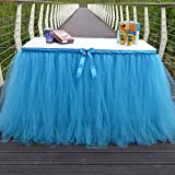 Table Skirt Blue Tutu Table Cover for Birthday Wedding Party Decoration Come with 5pcs Adhesive Velcro