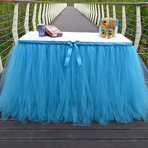 Table Skirt Blue Tutu Table Cover for Birthday Wedding Party Decoration Come with 5pcs Adhesive Velcro by Crystallove