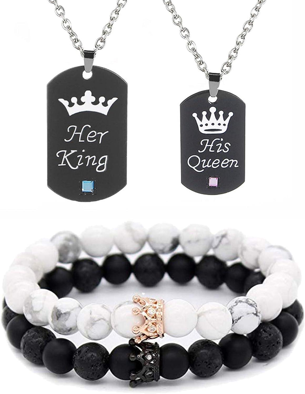 4Pcs Couple Necklace Bracelet Set I Love Necklace Love Heart Crown Necklace BFF Bracelet Couple Gift for Her