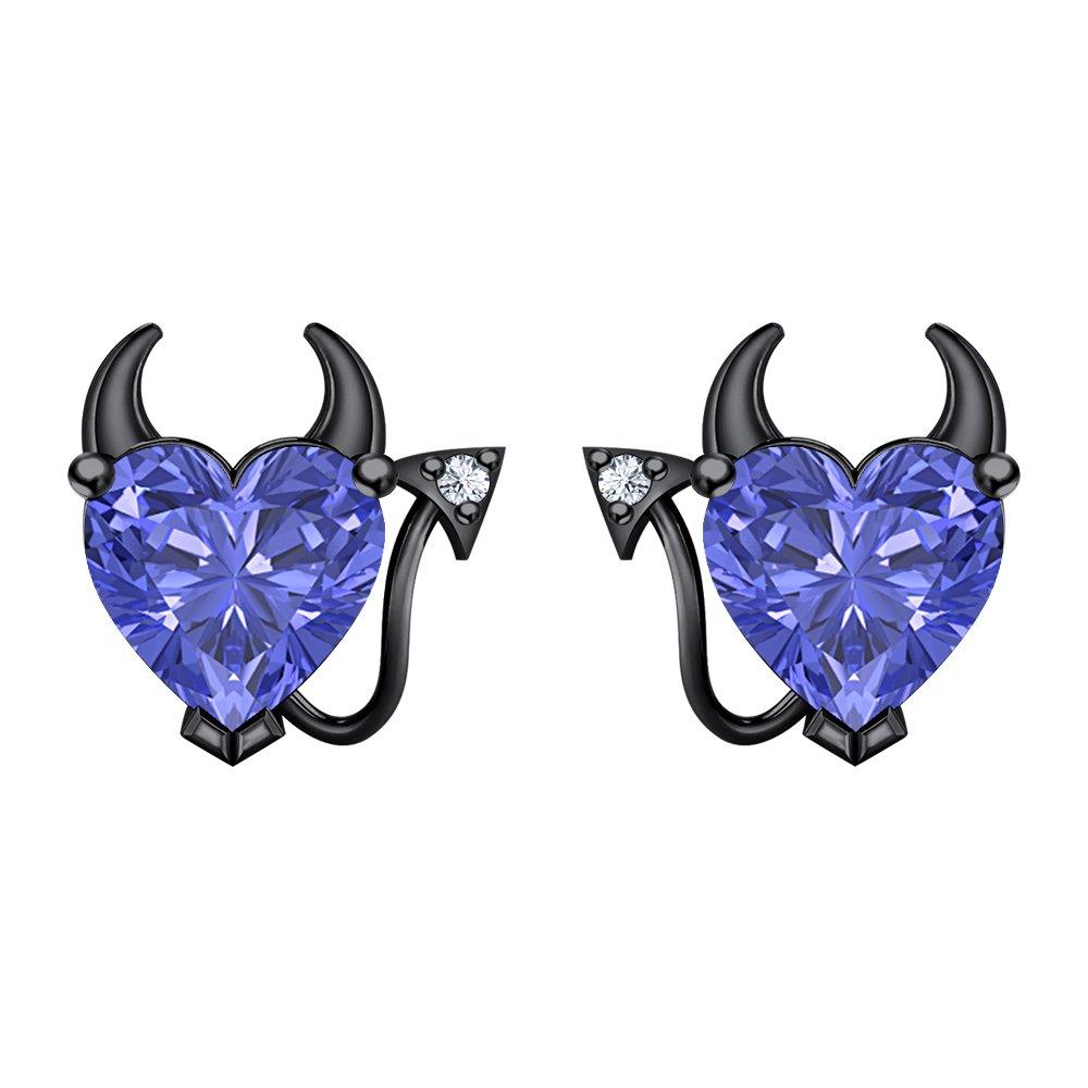 RUDRAFASHION Lovely Blue Tanzanite /& CZ Devil Heart Earrings 14K Black Gold Over Sterling Silver For Her