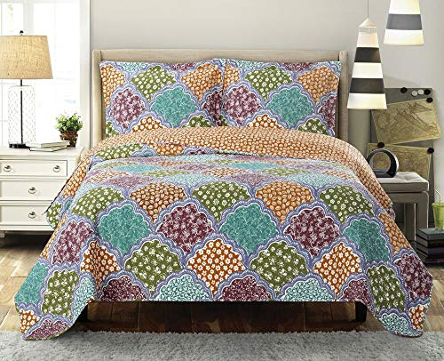 Royal Hotel Dahlia Oversized Coverlet Set, Luxury Printed Design Quilt, Bedspread Set - Filled Quilts - Fits Pillow top Mattresses - 3PC Set - Queen Size ()