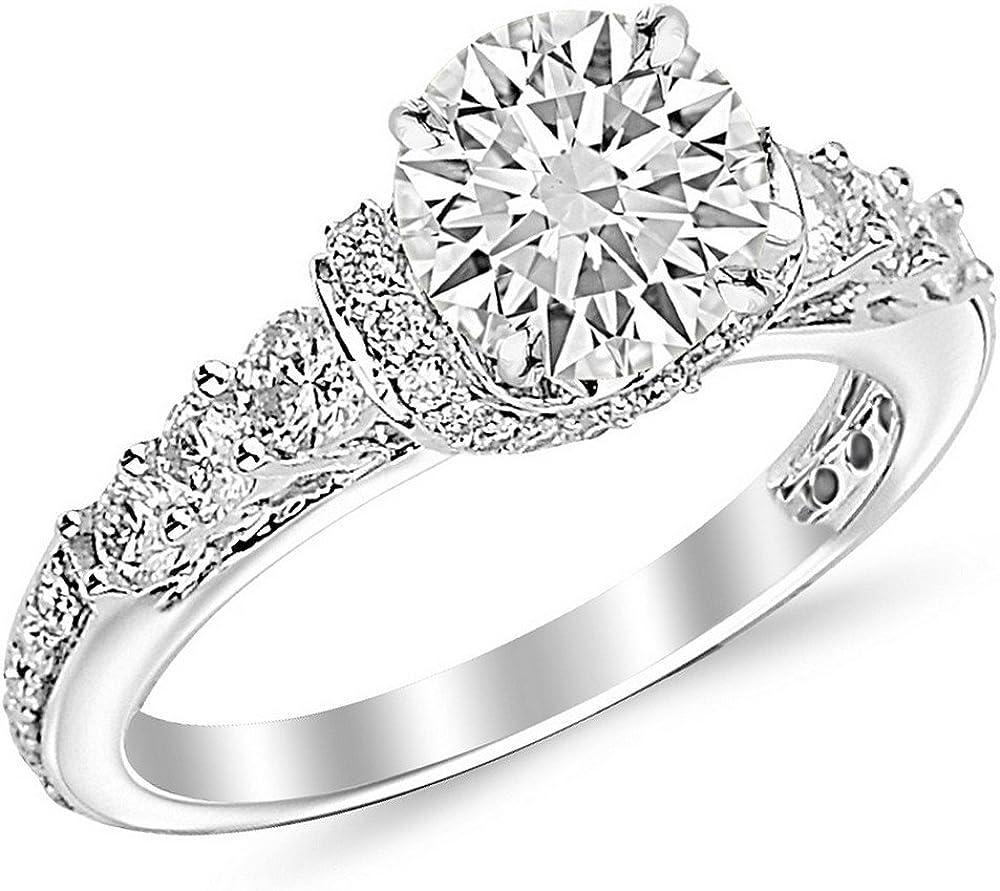 2 Carat Round Cut Designer Four Prong Round Diamond Engagement Ring I J Color Si2 Clarity Amazon Com