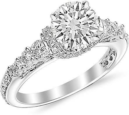 Amazon.com: Anillo de compromiso de diamante redondo de 2,33 ...