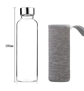 NYKKOLA Elegante Botella de Agua de Cristal de borosilicato con Funda de Nailon Gris – Capuchón