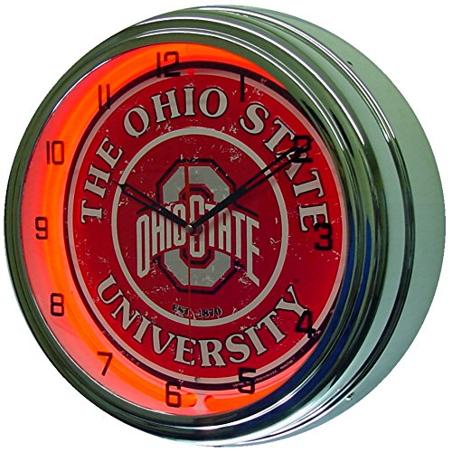 Ohio State University Logo Sign Neon Lighted Wall Clock Chrome Red