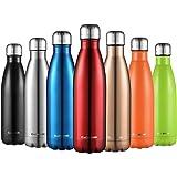 CMXING Bottiglia Acqua, 500ml/ 750ml Doppia Parete Acciaio Inox Sottovuoto Coibentato Bottiglia Termica, Sport Borracce Thermos (Rosso, 750ML)