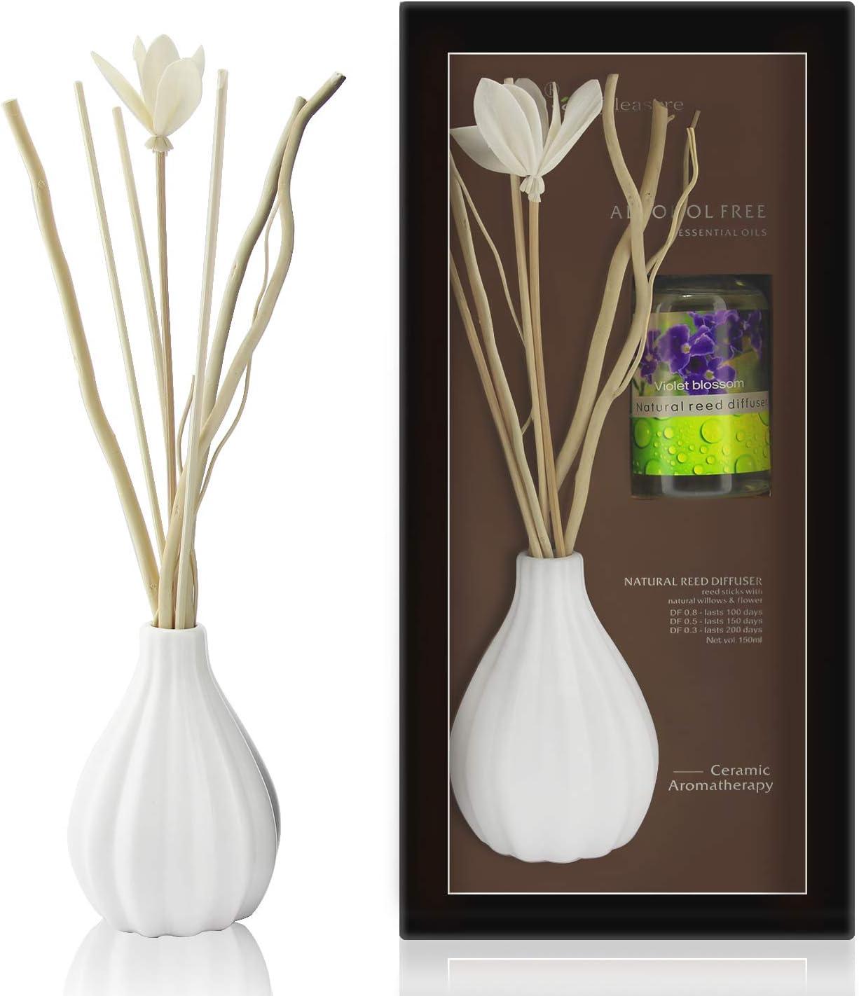 ap airpleasure Dried Flower Reed Diffuser Set, Natural Sticks, Elegant Ceramic Bottle, Aromatherapy Oil Set, Home Fragrance & Decorative Diffuser (VioletBlossom)